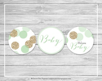 Mint and Gold Baby Shower Cupcake Toppers - Printable Baby Shower Cupcake Toppers - Mint and Gold Glitter Baby Shower - Toppers - SP108