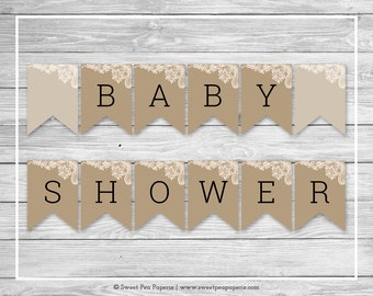 Tan and Lace Baby Shower Banner - Printable Baby Shower Banner - Tan and Lace Baby Shower - Baby Shower Banner - EDITABLE - SP112