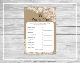 Tan and Lace Baby Shower Price Is Right Game - Printable Baby Shower Price Is Right Game - Tan and Lace Baby Shower - Price Is Right - SP112
