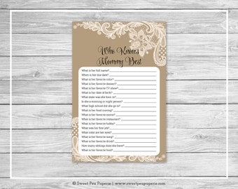 Tan and Lace Baby Shower Who Knows Mommy Best Game - Printable Baby Shower Who Knows Mommy Best - Tan and Lace Baby Shower - SP112