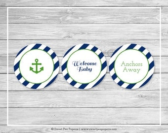 Nautical Baby Shower Cupcake Toppers - Printable Baby Shower Cupcake Toppers - Navy Green Baby Shower - Nautical Cupcake Toppers - SP120