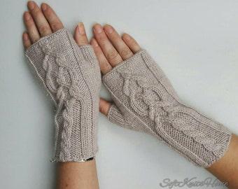 Knit fingerless gloves hand knitted mittens hand knitted gloves knit armwarmers knit handwarmers merino wool gloves beige gloves