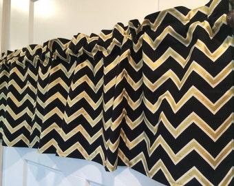 Black and Gold Chevron zig Zag Curtain Valance