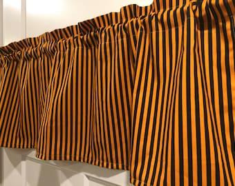 Orange and Black Halloween Valance - stripes