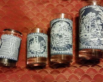 Vintage Royal China Currier and Ives Blue and White Dinnerware Mixed Lot of 4 Glass Tumblers