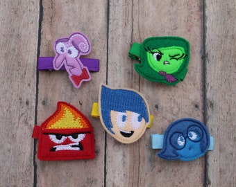 Inside Out inspired hair clips, Disney's Inside Out inspired hair clips, Inside Out inspired clip, Inside Out bow, Set of 5 clips