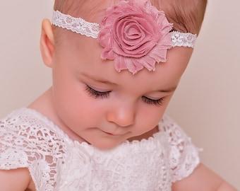 Newborn headband.Baby girl headband.Toddler headband. Shabby flower headband
