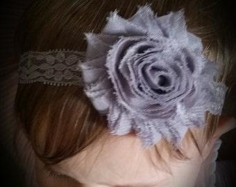 Premmie headband. Newborn headband.Baby girl headband.shabby flower headband. lace headband