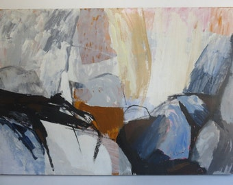 "Signed  ""Mariette Bevington"" Titled Monadnock, Mid-Century Modern Abstract Painting 1962-1964"
