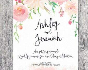 Save the date watercolor floral spring summer wedding invitation custom pastel DIGITAL FILE printable