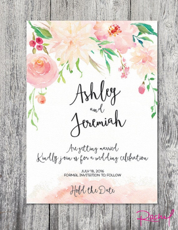 Save The Date Watercolor Floral Spring Summer Wedding