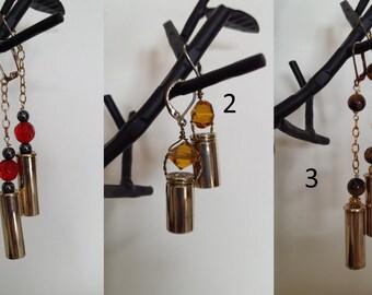 Handmade re purposed bullet casing earnings, bullet earrings, bullet jewelry, hunter jewelry, hunter gift, bullet gift,