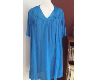 1980's sleepwear, 1980's night gown, golden girls knight gown, 80's sleep set, blue negligee, 80's house coat, blue sleep set, 80's lingerie