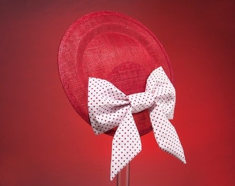 Fascinator Red White Polka Dots