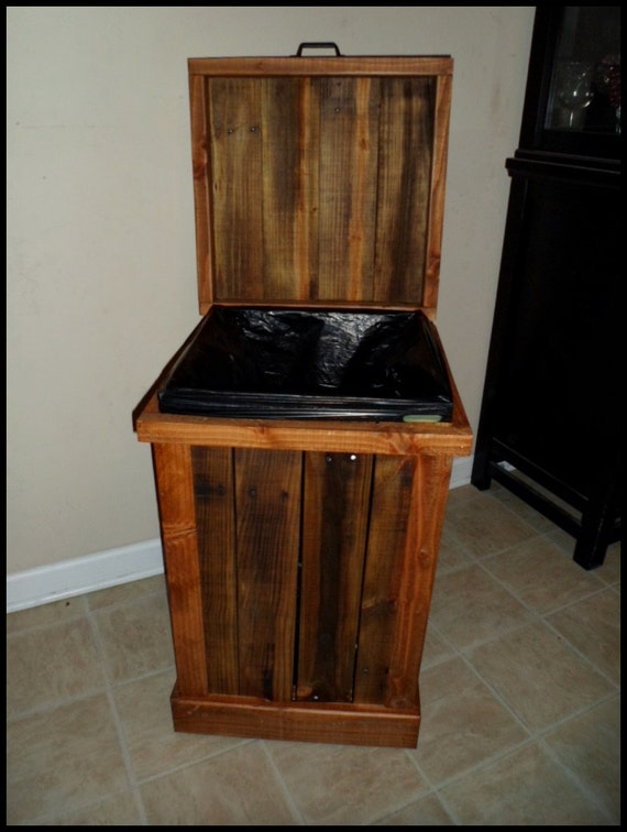 garbage can wood trash can rustic home decor kitchen