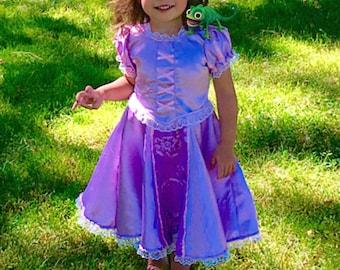 Rapunzel princess dress girl toddler tangled Christmas girl present costume birthday