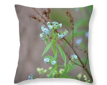 Pillow Cover Throw Pillow Accent Pillow Flower Pillow Blue Pillow Nature Decor Home Decor Rustic Pillow OOAK Pillow