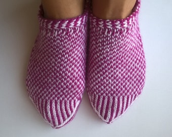 Hand Knitted Pink&White Slippers