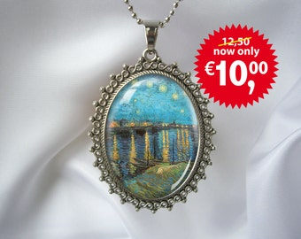 Van Gogh Starry night Silver Art Pendant Necklace with silver-plated ballchain