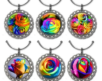 Rainbow Rose Wine Charms, Rose Wine Charms, Flower Wine Charms, Wine Glass Charms, Wine Accessories, Wine Lover Gift, Hostess Gift