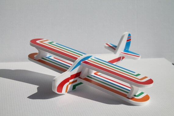 Rainbow DIY airplane Biplane Small foam craft Gift for a boy Funny outdoor game Birthday party decoration Aeroplane Kids room decor DIY gift