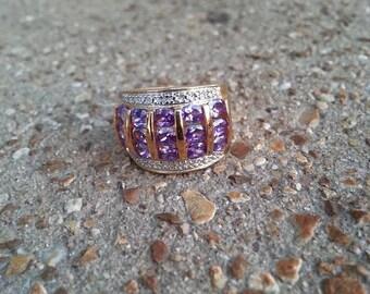 Sale Vintage Amethyst Diamond Ring Size 6.5 Gemstone Anniversary Wedding Gift Expires Today