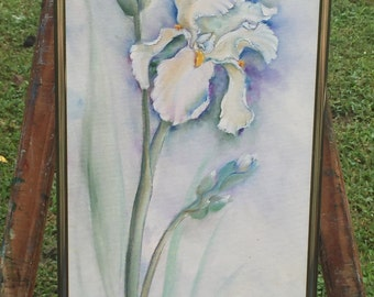 Two White Irises with Buds