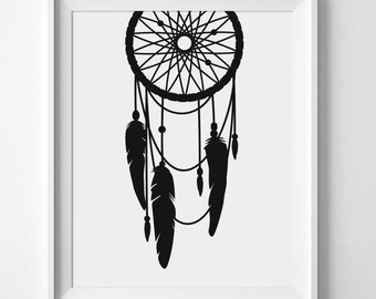 Dreamcatcher Print, Dreamcatcher Wall Art, Black Dreamcatcher, Black Dream Catcher, Printable Wall Art, Black And White Nursery, Nursery Art