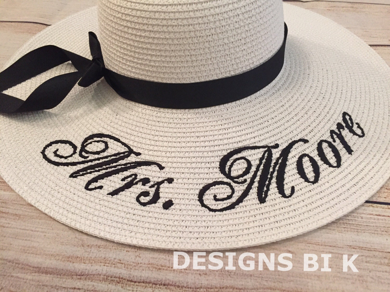 Personalized Straw Hat, Monogrammed Wedding Hat, Personalized Hat, Embroidered  Straw Hat, Straw
