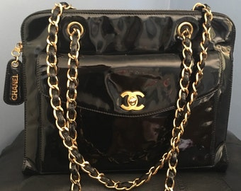 Chanel Auth patent handbag black 1990's