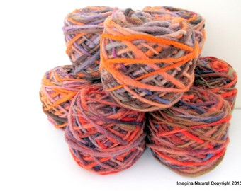 Limited Edition Handspun Hand dyed yarn Bulky Chilean Wool Knitting Multicolour Araucania Chunky Skein Orange Purple Brown 100g 3.5oz