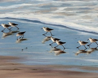 Beach Art , greeting card, 5 x 7 'Happy Little Sandpipers',  from original painting by Tina O'Brien, cottage, shabby chic, coastal,