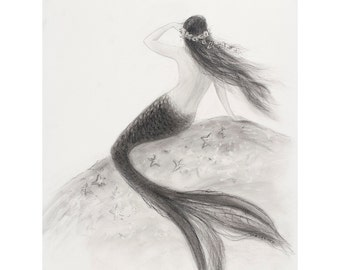Mermaid art, 5 x 7 greeting card, Mermaid Looking out to Sea from  drawing by Tina Obrien, beach art