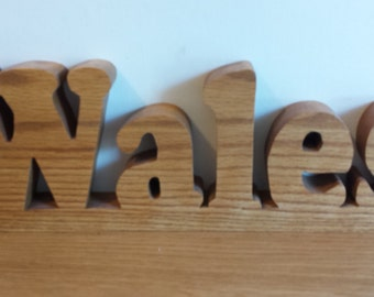 """Name Plaque in Solid Red Oak """"WALES"""""""