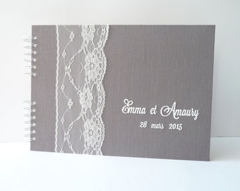 Guestbook polaroid - grey linen and lace