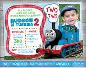 Thomas The Train Invitation   Thomas the Train Birthday   Train Invite   Thomas The Train Party   Thomas The Train Invite   Photo invitation