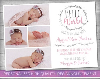 Birth Announcement Girl | Baby Announcement | Newborn Announcement | New Baby Announcement | One Sided - Personalized Printable Card