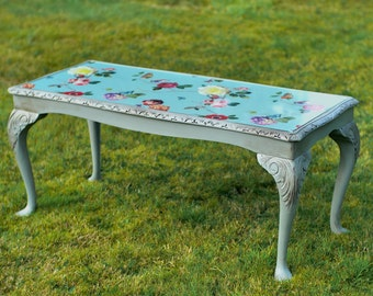 Grey Antique Coffee Side Occasional Table with Glass Top and Floral Paper Carved Vintage Shabby Chic Hand Painted Chalk Paint Boho