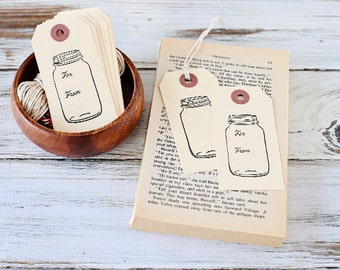 Mason Jar Tags, set of 10, hand stamped, paper supplies, mason jar tags, gift tags, from the kitchen of, canning tags