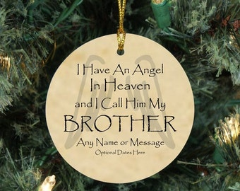 Memorial Christmas Ornament, Heaven Ornament, Loss of Brother, Angel in Heaven, In Memory Ornament, Personalized Christmas Memorial Gift