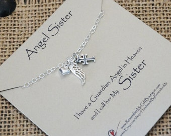 Angel Sister, Loss of Sister, Memorial Gift, Sympathy Gift, Memorial Jewelry, Sympathy Jewelry, Sterling Silver Memorial, Death of Sister