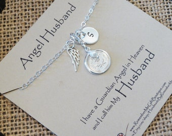 Loss of Husband, Angel Husband, Memorial Jewelry, Memorial Necklace, Sterling Silver Memorial Jewelry, Death of Husband, Forget Me Not