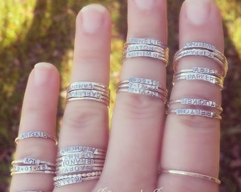 2mm Sterling Silver Stackable Name Rings, Mother's Rings, Layered Rings, Stackable Rings, Customized Ring, Name Rings Stackable, Silver Band