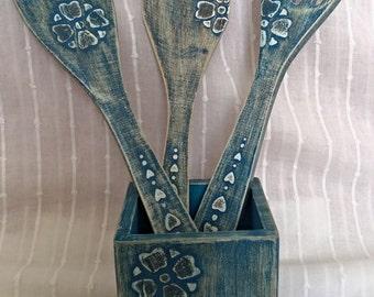 Set of 3, Wooden spoon, Wooden fork, Kitchen utensils, Home decor, Kitchen decor, Wooden utensils, Set of 3 items, Vintage wood utensils,