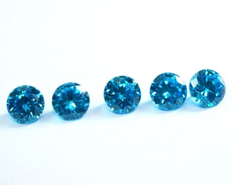 Wholesale lot of 25 pcs. ! Cubic Zirconia Round cut sky blue topaz cz loose gemstone For jewellery with free shipping