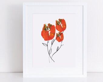 floral printable, flower art, floral print, orange flowers, tulip art, tulip flower, flower orange, tulip print, three flowers, office art