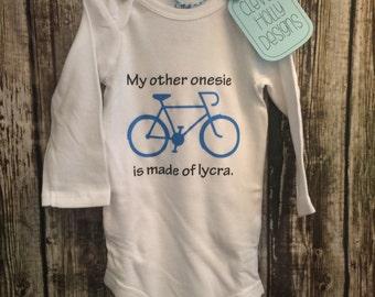 """Biking Onesie • Bicycle Onesie • Cycling Bodysuit """"My other onesie is made of lycra"""" (long sleeve or short sleeve bodysuit)"""