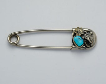 Turquoise brooch safety pin