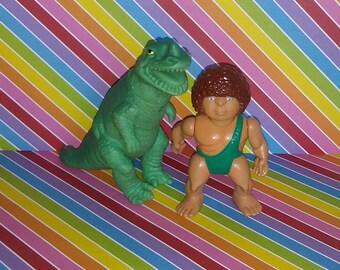 Vintage 1980s Playskool Definitely Dinosaurs (Caveman and Dino) Lot #3