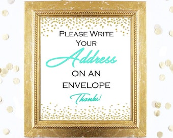 Bridal Shower Game Sign - Write Your Address on an Envelope - Mint and Gold - Instant Printable Digital Download - diy Bridal Shower Print